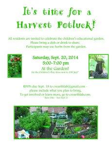 Harvest Potluck on 9.20.14!