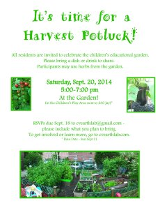 Harvest Potluck on 9.20.14!