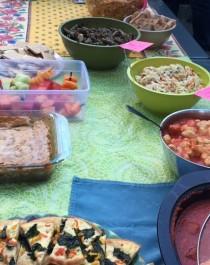 Fruit kebabs, gnocci, cold slaw